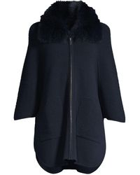 Sofia Cashmere Fox-fur Collar Ottoman Ribbed Cashmere Cardigan - Blue