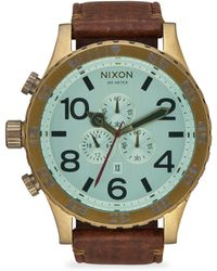 Nixon 51-30 Ip Stainless Steel & Leather Chronograph Strap Watch - Brown