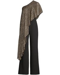 Trina Turk Eastern Luxe Koi Metallic One-shoulder Jumpsuit - Black