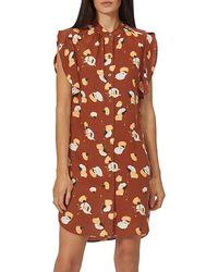 Equipment Lorainna Printed Silk Dress - Brown