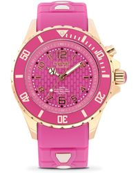 Kyboe - Power Rg Jolt Pink Silicone & Rose Goldtone Stainless Steel Strap Watch/40mm - Lyst
