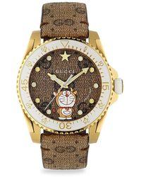 Gucci Gucci Dive X Doraemon Leather Strap Watch - Metallic