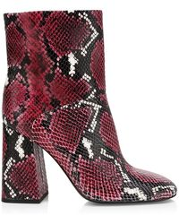 Alice + Olivia Diya Snakeskin-print Leather Ankle Boots - Multicolor