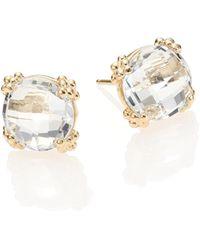 Anzie - Dew Drop White Topaz & 14k Yellow Gold Stud Earrings - Lyst