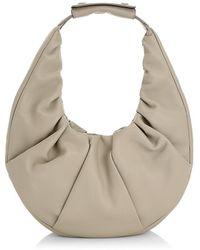 STAUD Moon Leather Hobo Bag - Gray