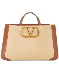 Valentino Garavani Vlogo Leather & Raffia Tote - Natural