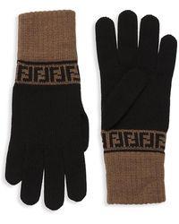 Fendi Logo Wool Gloves - Black