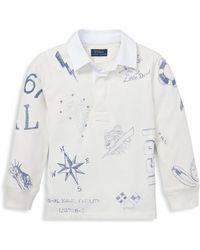 Ralph Lauren Little Boy's & Boy's Cotton Jersey Rugby Shirt - White