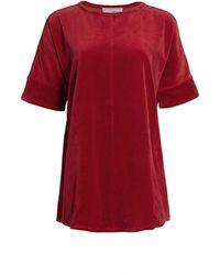 Joan Vass Velour Short-sleeve Tunic - Red