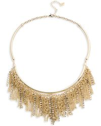 ABS By Allen Schwartz - Chain And Pave Fringe Frontal Necklace - Lyst