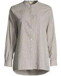 Eileen Fisher Mandarin Collar Shirt - Multicolor