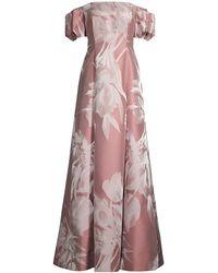 Aidan Mattox - Off-the-shoulder Floral Jacquard Gown - Lyst