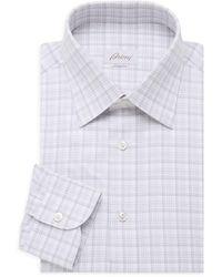 Brioni Grid Cotton Dress Shirt - Gray