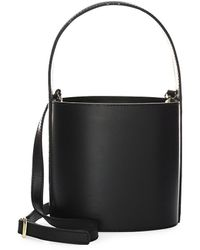 STAUD Bisset Small Leather Bucket Bag - Black