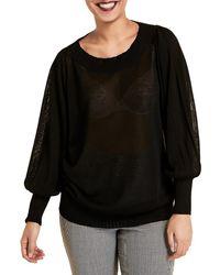 Marina Rinaldi Puff-sleeve Sweater - Black