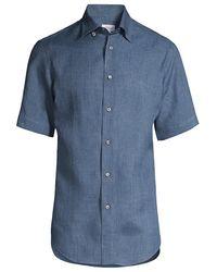 Brioni Short-sleeve Linen Shirt - Blue
