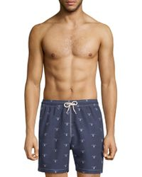 Barbour - Beacon-print Swim Shorts - Lyst