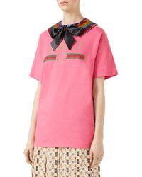 Gucci - Logo-print T-shirt With Removable Sequin-embroidered Collar - Lyst