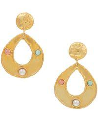 Sylvia Toledano Thalita 22k Goldplated, 7mm Pearl, Amazonite & Rhodochrosite Drop-hoop Earrings - Metallic
