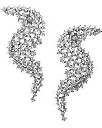 Adriana Orsini - Leia Wave Drop Crystal & Rhodium-plated Earrings - Lyst