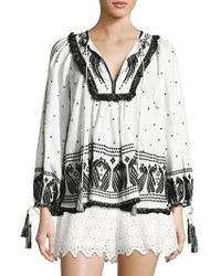 Zimmermann - Divinity Peacock Embroidered Boho Top - Lyst