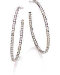 Roberto Coin - Diamond & 18k White Gold Inside-outside Hoop Earrings/1.4 - Lyst