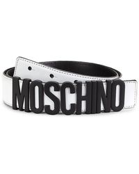 Moschino Matte Logo Leather Belt - Black