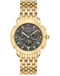 Michele Watches - Sidney 18k Gold Diamond Dial Bracelet Watch - Lyst