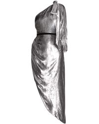 Ralph & Russo One-shoulder Ruched Lamé Dress - Metallic