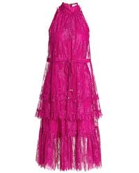 Alexis Magdalina Pleated Lace Halter Cocktail Dress - Pink