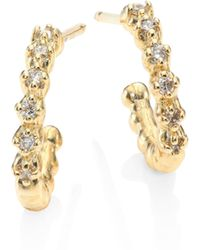 Mizuki - Small Diamond & 14k Yellow Gold Hoop Earrings/0.5 - Lyst