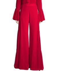 Alexis - Talley Shirred Wide-leg Silk Pants - Lyst