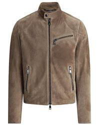 Ralph Lauren Purple Label Randall Suede Biker Jacket - Brown