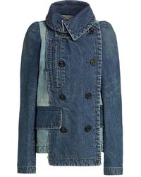 Sacai Patchwork Denim Coat - Blue