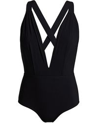 Karla Colletto Maren Plunge-neck One-piece Swimsuit - Black
