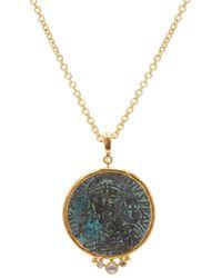 Gurhan Antiquites 24k Yellow Gold, 22k Yellow Gold, 18k Yellow Gold & Diamond One Of A Kind Roman Coin Pendant Necklace - Metallic