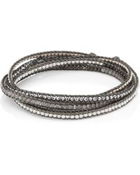 Chan Luu Sterling Silver, Moonstone & Silver Hematine Wrap Bracelet - Gray