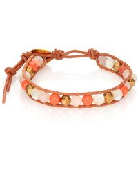 Chan Luu - Red Aventurine, Mother-of-pearl, Salmon Faux Pearl & Leather Beaded Bracelet - Lyst