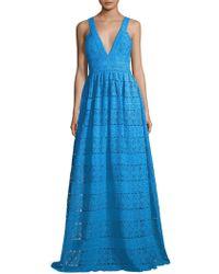 ML Monique Lhuillier - Lace V-neck Gown - Lyst