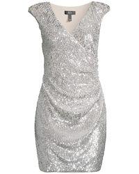 Aidan By Aidan Mattox Sequined Faux - Wrap Dress - Metallic