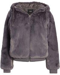 Maje Bayana Hooded Faux Fur Jacket - Gray