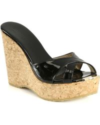 Jimmy Choo - Perfume 120 Patent Leather And Cork Wedge Sandals - Lyst