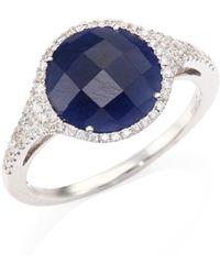Meira T - Diamond, Blue Sapphire & 14k White Gold Ring - Lyst
