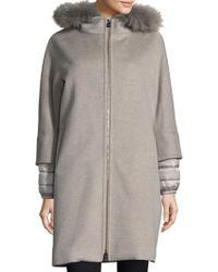 Cinzia Rocca - Fox Fur-trimmed Mixed Media Coat - Lyst