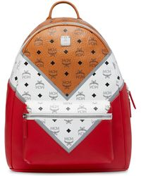 MCM - Stark M Move Visetos Leather Backpack - Lyst