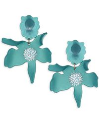 Lele Sadoughi Crystal Lily Clip-on Earrings - Blue