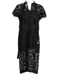 Sacai Embroidered Lace Midi Dress - Black