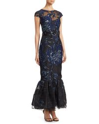 David Meister - Floral-embroidered Mermaid Gown - Lyst