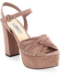 62165be69746 Lyst - Prada Paillette Ankle-Strap Wedge Sandal in Metallic