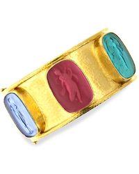 Elizabeth Locke Venetian Glass Intaglio 19k Yellow Gold 'muse' Wide Bangle - Metallic
